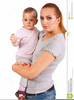 Mom Holding Baby Clipart Image