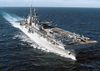 The Amphibious Assault Ship Uss Bataan (lhd 5) Steams Along With The Kearsarge While Underway In The Mediterranean Sea Image