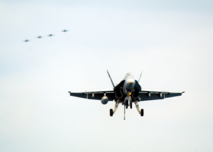 An F/a-18c Hornet Prepares To Land On The Flight Deck Of Uss Theodore Roosevelt (cvn 71) Image