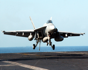 An F/a-18e  Super Hornet  Assigned To The  Eagles,  Of Strike Fighter Squadron One One Five (vfa-115) Makes An Arrested Landing Aboard Ship. Image