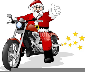 Santa Claus On Motorcycle Clipart Image