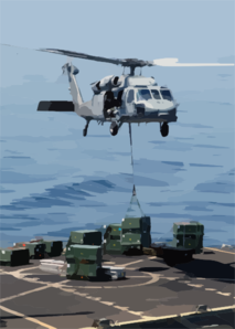 An Mh-60s Knight Hawk Delivers A Crate Of Ordnance To The Military Sea Lift Command, Ammunitions Ship Usns Kiska (t-ae 35) During A Weapons Transfer From The Uss Abraham Lincoln (cvn 72) Clip Art