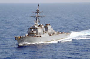 The Guided Missile Destroyer Uss The Sullivans, Part Of The Kennedy Battlegroup, Transits The Mediterranean Sea. Image