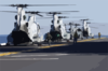 Three Ch-46 Sea Knight Helicopters Prepare To Launch From The Flight Deck Aboard Uss Wasp (lhd 1) Clip Art