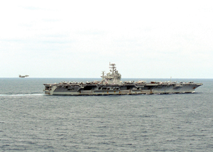 An Aerial View Of The Nuclear-powered Aircraft Carrier Uss Theodore Roosevelt (cvn 71) Image