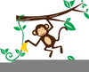 Monkey Hanging From A Tree Clipart Image