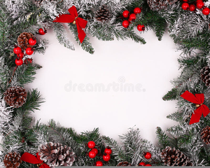 Holly Berry Christmas Border Clipart Image