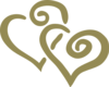 Gold Interlocked Hearts Clip Art