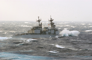 The Destroyer Uss Paul F. Foster Turns Away After An Attempt To Replenish Fuel Image