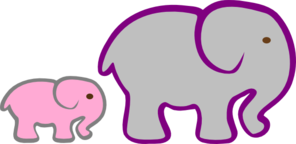 Gray Elephant Mom And Pink Baby Clip Art