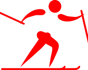 Pictogram Ski Cross Red Clip Art