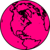 Black And Pink Globe Clip Art