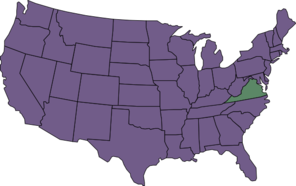U.s. Map Highlighting Virginian Clip Art