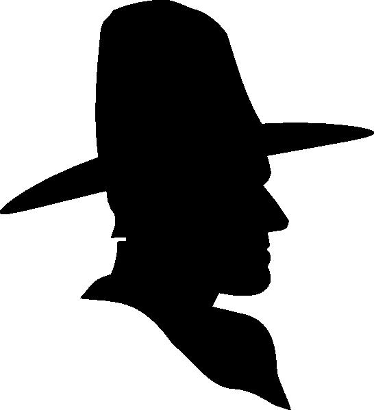 Cowboy profile silhouette clip art - photo#1