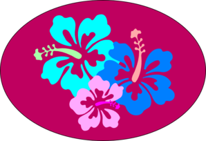 Hibiscus In Oval Clip Art