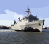 Uss Portland (lsd 37) Sails Through The Harbor As It Heads Out To Sea Clip Art