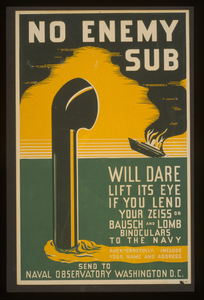 No Enemy Sub Will Dare Lift Its Eye If You Lend Your Zeiss Or Bausch & Lomb Binoculars To The Navy Pack Carefully, Include Your Name And Address : Send To Naval Observatory Washington D.c. Image