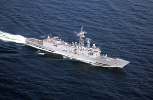 N Aerial View Of The U.s. Navy Guided Missile Frigate Uss Rueben James (ffg 57). Image