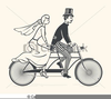 Clipart Bride And Groom On Bicycle Image