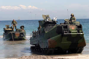 Amphibious Assault Vehicles (aav) Arrive On The Philippine Shore From The Amphibious Transport Dock Ship Uss Fort Mchenry (lsd 43) Image
