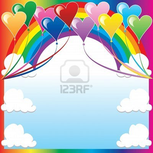 Illustration Of Heart Balloons With A Colorful Background And A Place For Text Or Imagery Image