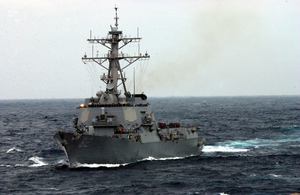 The Guided Missile Destroyer Uss Lassen (ddg 82) Underway In The Rough Seas Of The East China Sea Image