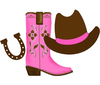 Pink Cowboy Boot Clipart Image