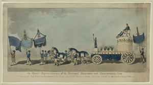 An Exact Representation Of The Principal Banners And Triumphal Car, Which Conveyed Sir Frances Burdett To The Crown And Anchor Tavern On Monday June 29th, 1807 - Dedicated To The 5134 Independent Electors Of Westminster Image