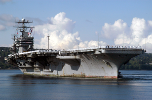 The Uss Abraham Lincoln (cvn 72) Approaches Pier Alpha Aboard Naval Station Everett After Returning From Nearly A 10-month Deployment In Support Of Operations Enduring Freedom And Iraqi Freedom Image