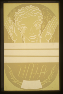 [wpa Poster Design Showing The Head And Hands Of A Woman Holding Flowers And Wheat Above A Blank Banner] Image