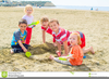 Children Playing On The Beach Clipart Image