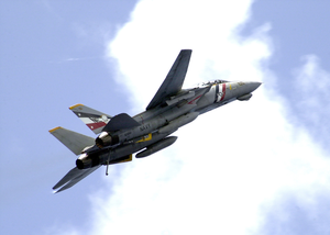 Tomcat Performs A Fly-by Of The Ship With It Image
