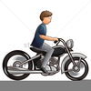 Man Riding Motorcycle Clipart Image