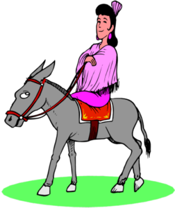 Woman Riding Donkey Image