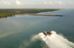 An Aerial View Of A Landing Craft Air Cushion (lcac 63) Heading Towards Manda Bay Kenyan Naval Training Area In Kenya, Africa. Image
