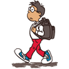 Boy Walking To School Clipart Image