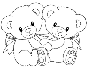coloring pages teddy bear holding roses | Clipart Of Bears Hugging | Free Images at Clker.com ...