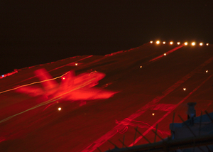 An F/a-18 Hornet Assigned To Carrier Air Wing One (cvw-1) Catches The Wire During An Arrested Landing On The Flight Deck During Night Flight Operations Aboard Uss Enterprise (cvn 65). Image