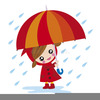 Girl With Umbrella In Rain Clipart Image
