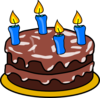 Birthday Cake Four Candles Clip Art