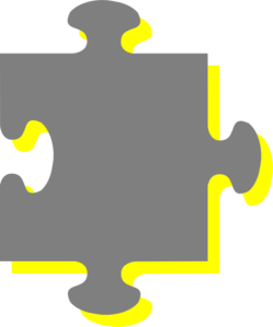 Grey Yellow Puzzle Clip Art