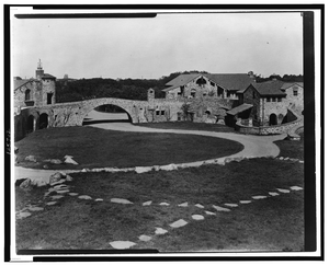 [a.c. James Home,  Suprise Valley  View Of Courtyard And Stone Buildings, Newport, Rhode Island] Image