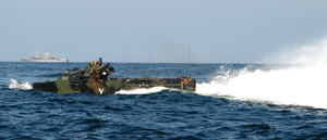 An Amphibious Assault Vehicle Embarked Aboard The Amphibious Assault Ship Uss Bataan Image