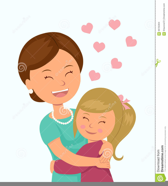 Mom And Daughter Hugging Clipart