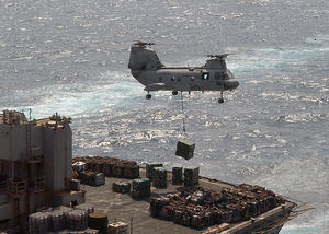 Ch-46 Transports Ammunition To Usns Supply Image