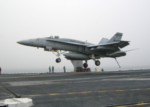 An F/a-18 Hornet Assigned To The Checkerboards Of Marine Strike Fighter-attack Squadron Three One Two (vmfa-312) Lands On The Flight Deck Aboard Uss Enterprise (cvn 65). Image