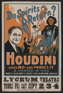 Do Spirits Return? Houdini Says No - And Proves It 3 Shows In One : Magic, Illusions, Escapes, Fraud Mediums Exposed.  Clip Art