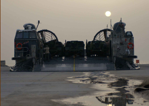 A Landing Craft Air Cushion (lcac) Assigned To Assault Craft Unit Five (acu-5)  Arrives At Kuwait Naval Base. Image