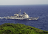 The Guided Missile Cruiser Uss Chancellorsville (cg 62) Enters Apra Harbor, Guam Image