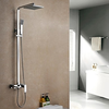 Contemporary Chrome Finish Rain Shower Brass Three Holes Single Handle Shower Faucet Set--faucetsuperdeal.com Image
